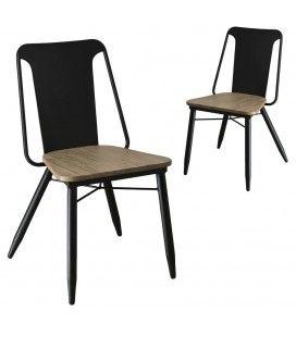 Chaise en bois massif acacia et métal noir Pruna - Lot de 2