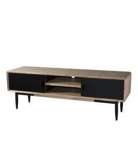 Meuble TV bois massif et métal noir L165cm Pruna