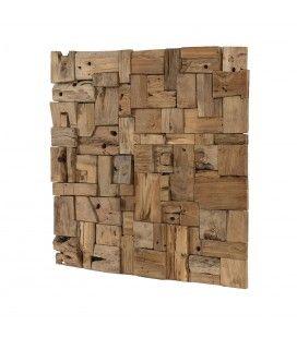 Décoration murale carrée bois teck flotté 80 cm TIMOR