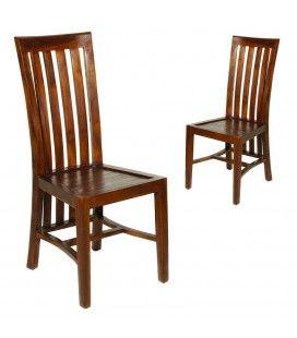 Lot de 2 chaises en bois massif laqué Lora