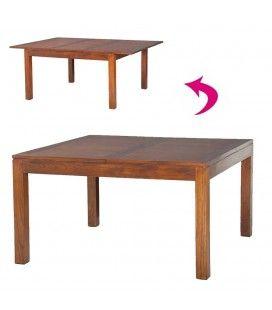 Table carrée rallonge 140/50 x 140 cm bois massif LORIE