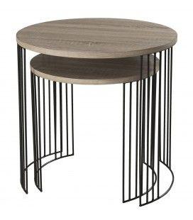 Ensemble 2 petites tables pieds métal et bois clair MANADO