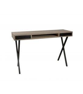 Bureau console métal et bois clair 120 cm 2 tiroirs MANADO