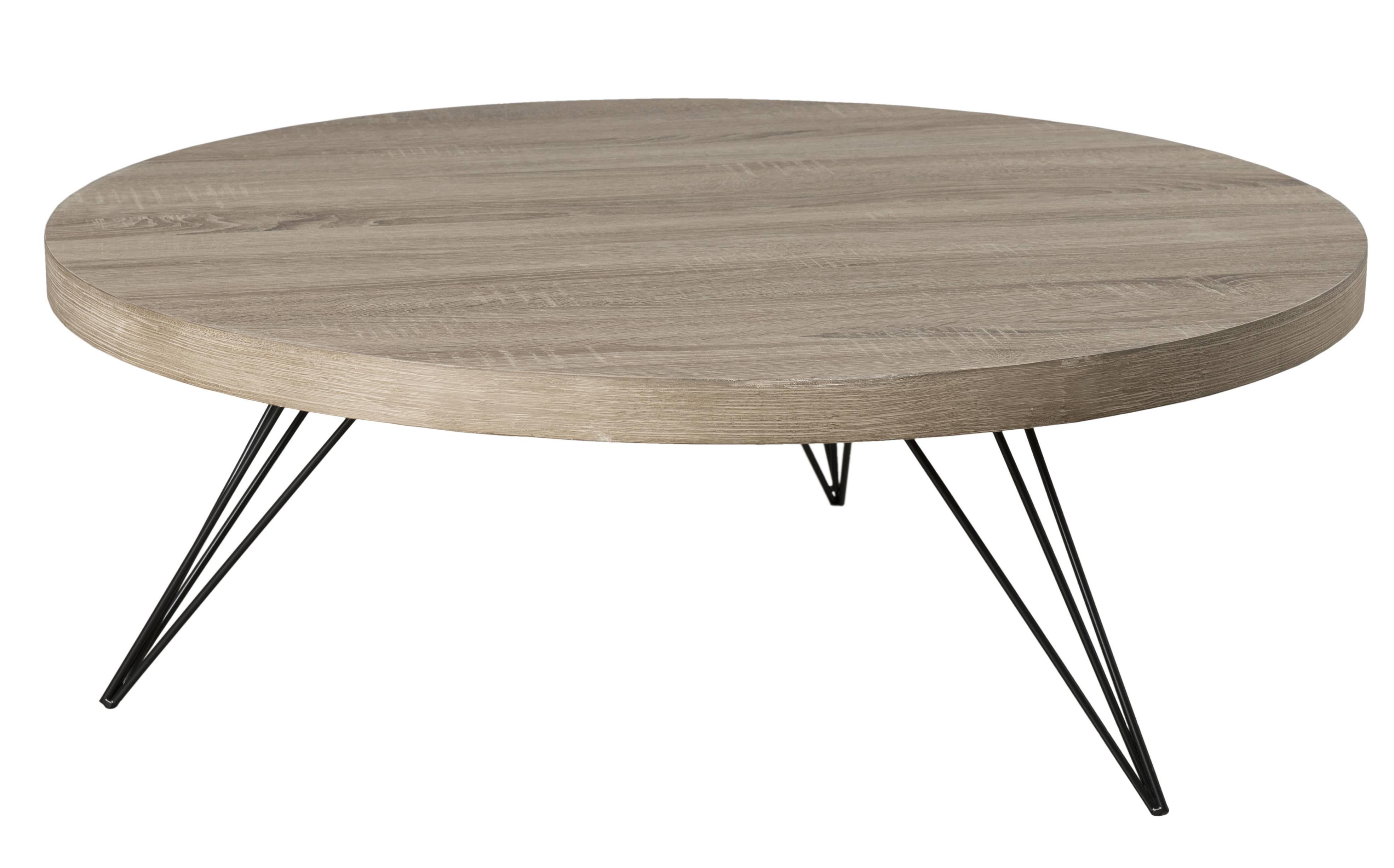 Table Basse Ronde Art Deco table basse ronde bois clair et pieds métal h30 cm manado