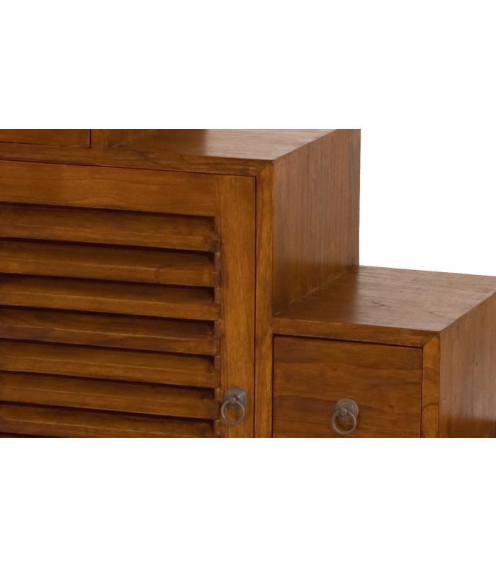 Meuble Rangement Escalier Tiroirs Bois Massif Rustique Decome Store