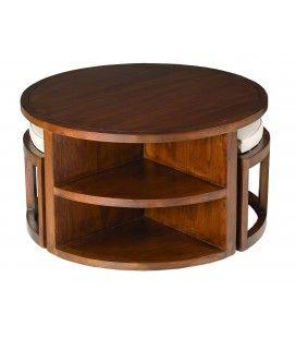 Table basse ronde 2 tabourets avec coussins bois massif LORIE