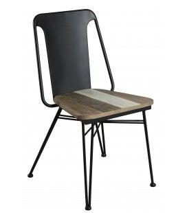 Chaise en acacia massif et métal noir Conca