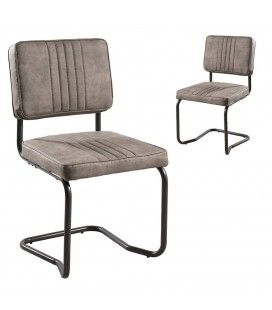 Lot de 2 chaises tissu taupe gamme FANNY -