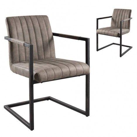 Lot de 2 fauteuils tissu taupe gamme FANNY -