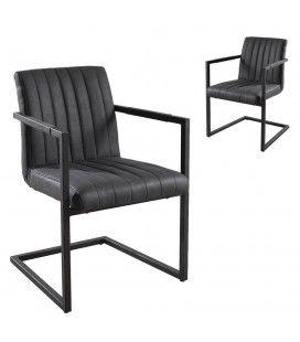 Lot de 2 fauteuils de table en tissu gris foncé Tizza