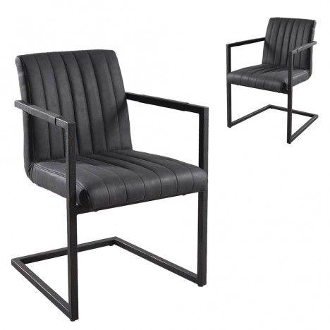 Lot de 2 fauteuils tissu gris anthracite gamme FANNY -