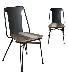 Lot de 2 chaises en bois massif et métal Conca