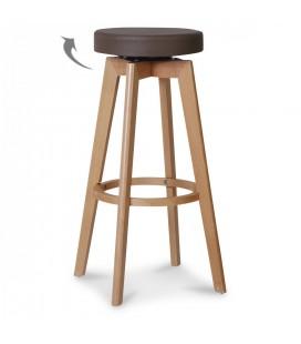 Tabouret de bar pieds en bois et assise taupe Real