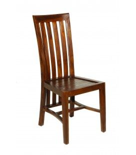 Chaise en bois massif vernis laqué haut dossier Lora