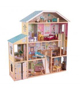 Maison de poupées bleu et bois 8 pièces