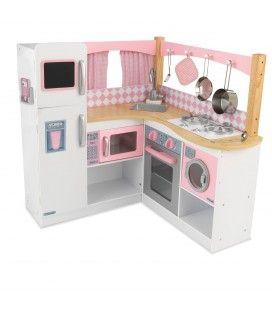 Cuisine d'angle pour enfant en bois rose et blanc