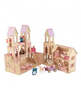 Château de princesse dépliant couleur rose et bois