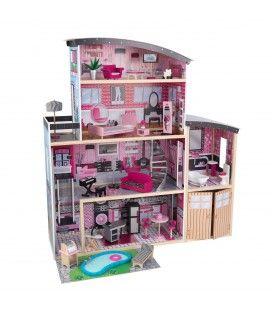 Maison de poupée avec piscine et garage