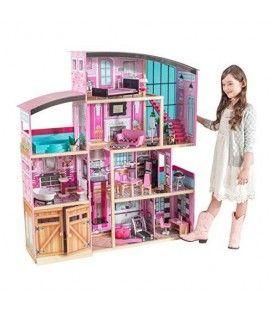 Grande maison de poupées rose avec son garage