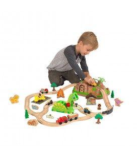 Circuit trains en bois dinosaures et montagne + coffre