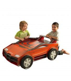 Table de jeux enfants piste voiture rouge + rangements