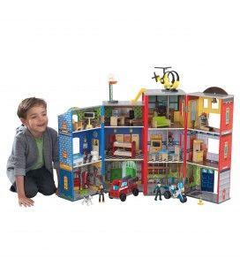 Caserne pompiers garage pour enfants 3 niveaux