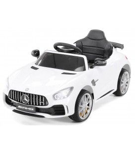Petite voiture électrique Mercedes AMG GTR blanche