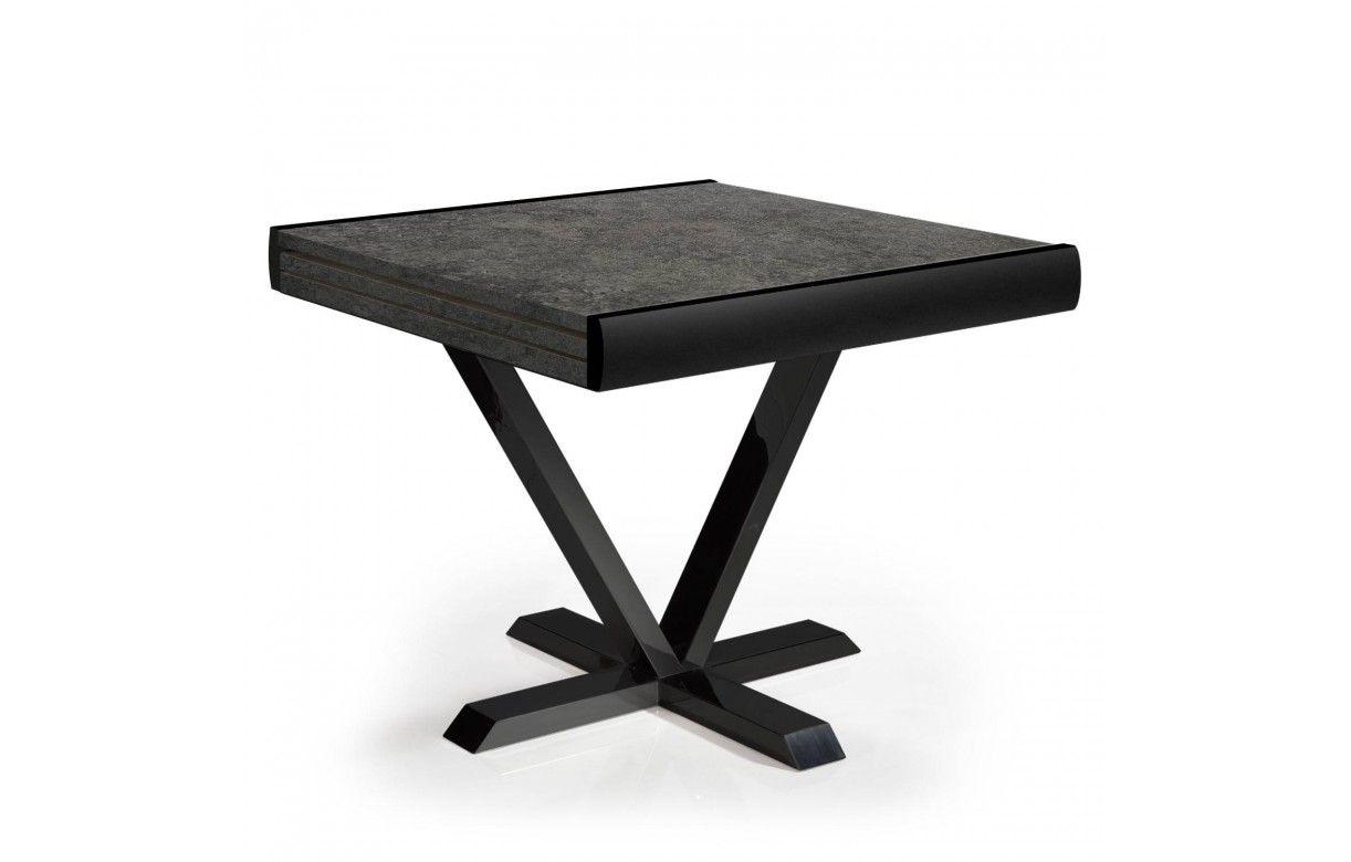 Table extensible effet béton rallonge intégrée 90 à 180cm