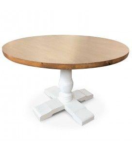 Table ronde en bois clair et blanc diam 120 cm Alabama -