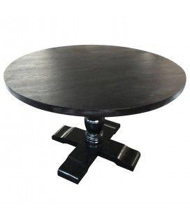 Table ronde noire en bois et pied blanc Alabama -