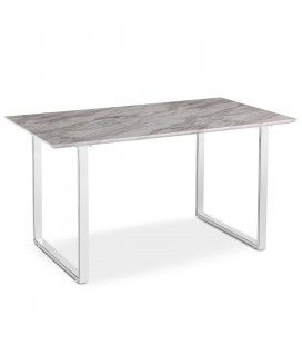 Table en bois effet marbre clair et pieds blancs Solna