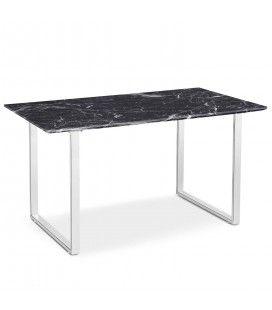 Table effet marbre foncé en bois et pieds blancs Solna