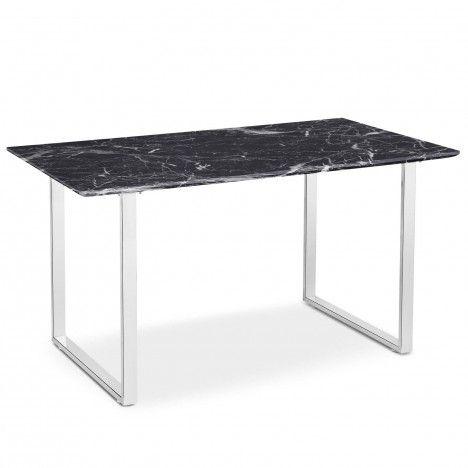 Table effet marbre foncé en bois et pieds blancs Solna -