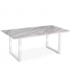 Table basse en bois effet marbre clair et pieds blancs Solna -