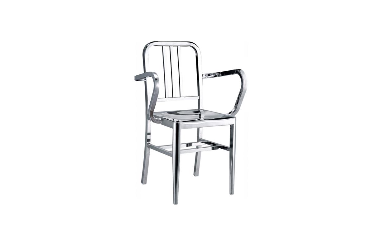 Set de 2 chaises navy en inox poli design for Chaise inox