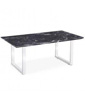 Table basse effet marbre foncé en bois et pieds blancs Solna