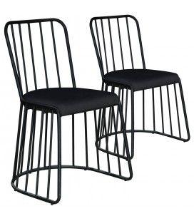 Chaise noire en métal et tissu noir Vindo - Lot de 2 -