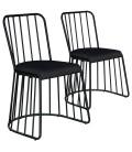 Chaise noire en métal et tissu noir Vindo - Lot de 2
