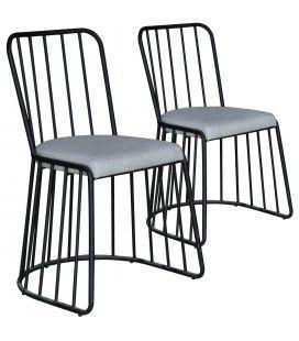 Chaise tissu gris et métal noir Vindo - Lot de 2 -