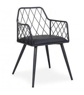 Chaise simili-cuir noir et métal noir Rindo -