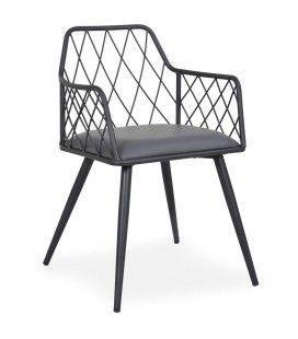 Chaise en métal noir et simili-cuir gris Rindo -