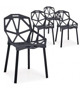 Chaise design Noire Spider - Lot de 4 -