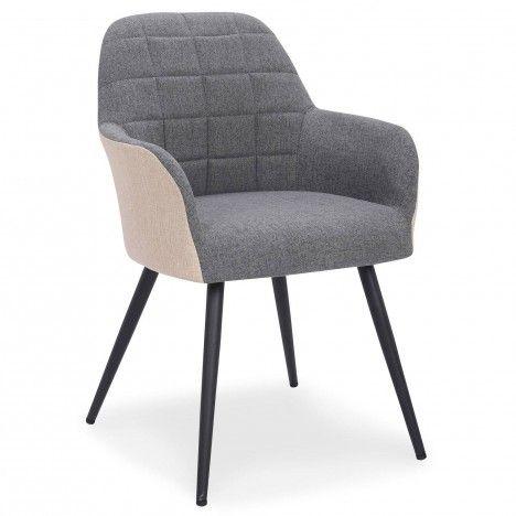 Fauteuil chaise tissu gris et beige Munso -