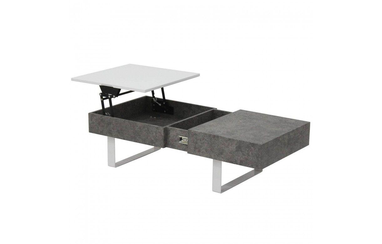 Table basse grise et blanche plateau relevable ukna Table basse blanche plateau relevable