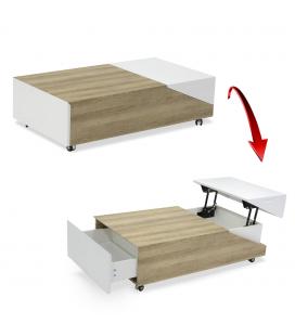 Table basse bois rangements plateau relevable Jarna