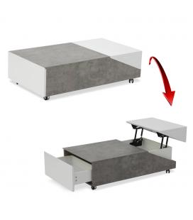 Table basse grise rangements plateau relevable Jarna