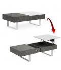 Table basse grise et blanche plateau relevable Ukna -