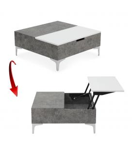 Table basse relevable gris béton et blanc Skara