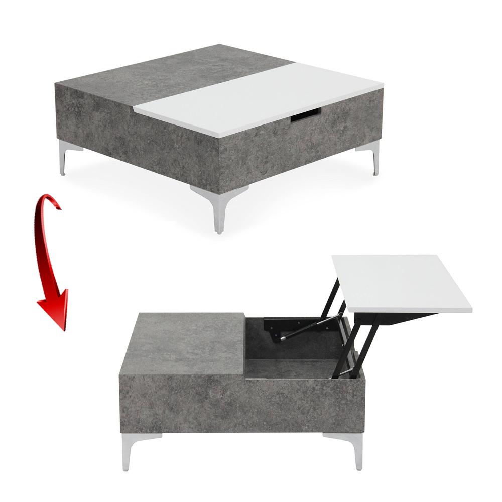 Table Basse Relevable Gris Beton Et Blanc Skara Decome Store