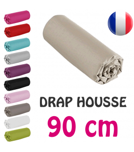 Drap housse lit simple 90x190 cm 100% coton - 11 coloris